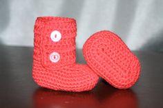 Watermelon Crochet Baby Booties