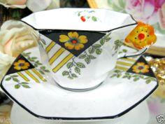 MELBA FLOWER HANDLE Tea cup and saucer ART DECO