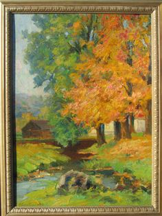 Vintage painting Stratton 1890  A Peaceful by EPatrickGallery, $195.00