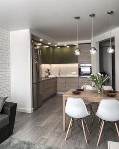 Inspiring Small Apartment Kitchen Design Ideas 2 — Home Design Ideas Modern Kitchen Interiors, Modern Kitchen Design, Interior Design Living Room, Living Room Designs, Modern Kitchens, Small Kitchens, Design Bedroom, Room Interior, Small Apartment Interior Design