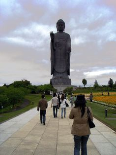 In 2008 I went with a group of friends on a day-trip to this awe-inspiring Amitabha Buddha statue located about 1 hour from central Tokyo.  With its majestic 110 meters (plus an extra 10 meters for the lotus platform) of height, it currently is (to my knowledge) the world's 3rd highest statue, just barely below its competitors. Compare this with the Statue of Liberty which is 93 meters high (the statue itself is just 46 meters), and you'll probably get the idea of its enormous size.