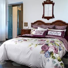 Jemma Collection: Dreamy and colourful, Jemma features the most gorgeous array of watercolour flowers in relaxing hues of mauve, olive and blue. The coordinate fabric is a watercolour damask in shades of mauve.