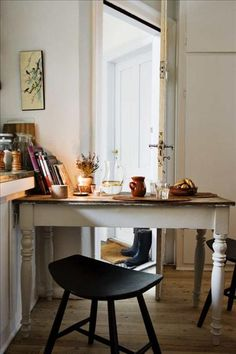 Morten Holtum {white rustic modern kitchen / breakfast nook} I like this casual chair bedside table approach. Kitchen Breakfast Nooks, Sweet Home, My New Room, Rustic Decor, Rustic Table, Rustic Backdrop, Rustic Crafts, Rustic Curtains, Rustic Colors