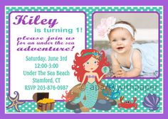 Mermaid Birthday Invitation PartyLittle Decorations Banner Toppers Cupcake And More