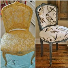 Great tutoriol on reapholstering a chair.