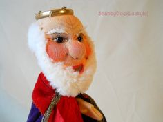 German vintage hand puppet King 1950s Kersa by ShabbyGoesLucky, €45.00