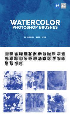 30 Watercolor Texture Photoshop Brushes Pixel Size, Adobe Illustrator Tutorials, Watercolor Texture, Photoshop Brushes, 30th, Template, Illustration, Design
