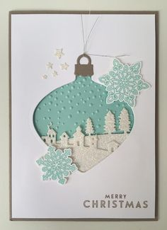 Stampin' Up! Sleigh Ride and Ornament dies. Flurry of wishes stamps and punch.