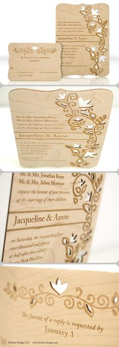 "Laser cut wood wedding invitations. These Indian wedding invitations and accompanying response cards feature stunning engraved detail. Laser cut into 1/16"" wood planks. http://www.invite-design.com/#!product/prd12/4250339495/perennial-invitation-with-rsvp"
