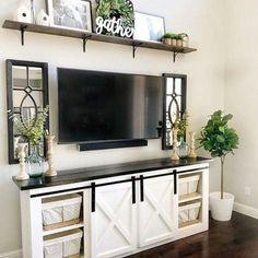 Living Room Tv, Apartment Living, Living Room Furniture, Rustic Furniture, Antique Furniture, Dining Room, Outdoor Furniture, Furniture Ideas, Tv On Wall Ideas Living Room