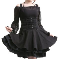 Underbust Gothic Dress with Straps   Crazyinlove International (110 CAD) ❤ liked on Polyvore featuring dresses, gothic clothing dresses, steam punk dress, goth dresses, strappy dress and pinup dresses