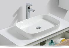Lavabo bacinella d'appoggio design elegante in mineral marmo bianco 60 cm - 75 EURO