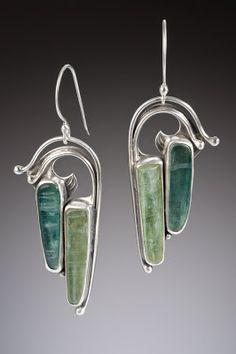 Nisa Jewelry:  Pierced Silver and Blue-Green Kyanite Earrings.... sold.