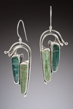Nisa Jewelry:  Pierced Silver and Blue-Green Kyanite Earrings.... sold.