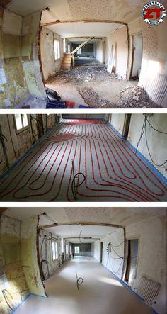 Rez de chaussée : décloisonnement, isolation du sol, plancher chauffant et chape liquide en attendant le béton ciré