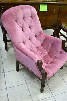"Victorian East Lake Style Pink Tufted Sleepy Hollow Chair - Upholstery is Company Ready! - 26"" W x 26"" D x 36"" H"