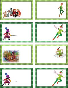 Peter Pan gift tags, but we could use them for costume tags or personalized invites.