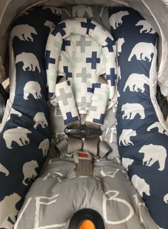 Custom Replacement Car Seat Cover for Chicco Keyfit or Chicco Keyfit 30 - Bears and Crosses