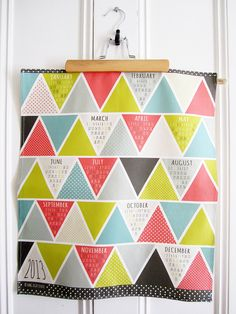Tea Towel 2013 Calendar - Triangulum. $18.00, via Etsy. Why can't this be made with paper? Hmmm...