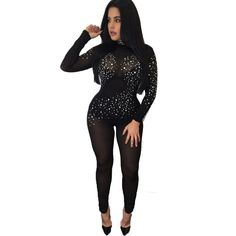 Rompers Womens Jumpsuits 2016 Sexy Perspective Rhinestone Long Jumpsuit Black Sheer Hollow out Long Sleeve Bodycon on http://ali.pub/07m8u