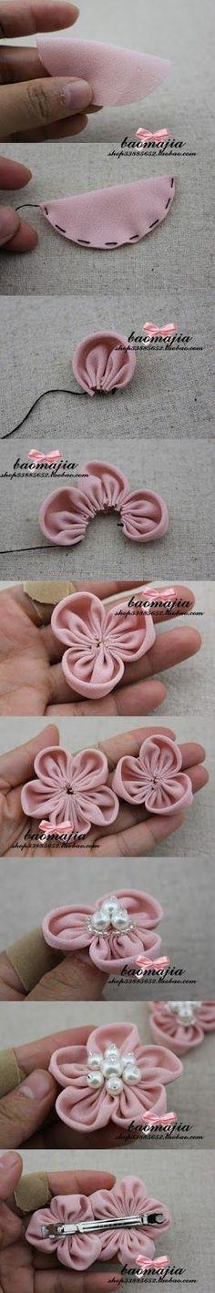 Cute and easy DIY fabric flower