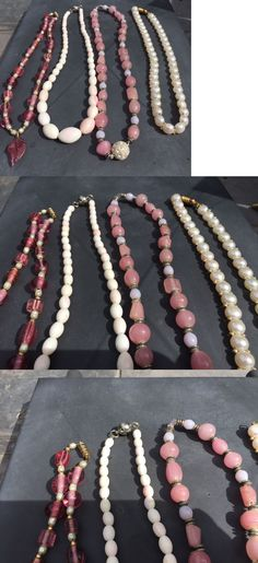 Other Artisan Jewelry 12519: Lot 4 Handmade Necklaces Includes Pink Coral, Pearl, Rose Quartz -> BUY IT NOW ONLY: $65 on eBay!
