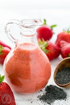 Strawberry Poppyseed Vinaigrette Ingredients: (makes enough vinaigrette for 2 salads) 1/4 cup cold filtered water 1/4 cup olive oil 1/4 cup red wine vinegar, or to taste 1/2 lb fresh strawberries, hulled and halved (about 1 1/2 cups) 2 Tbsp honey 1/2 tsp poppy seeds