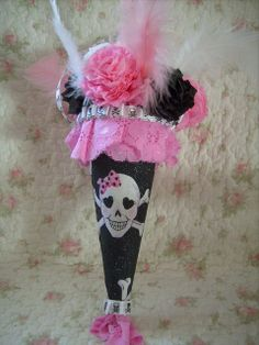 holiday,halloween,altered art ,skull,roses,pink black ,feathers,tussie mussie 1