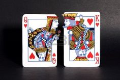 King and queen of hearts playing cards courting each other.