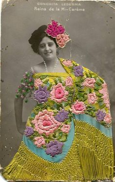 stitching on old postcard