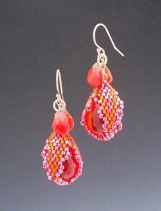 Peyote Stitched Ember Sphinx Drop Earrings by mikelle77 on Etsy