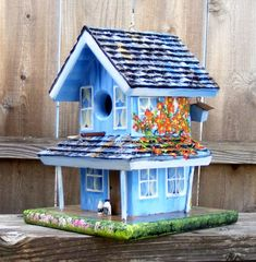 Hand painted bird house, birdhouseblessings, gypsy, wagon, handcrafted