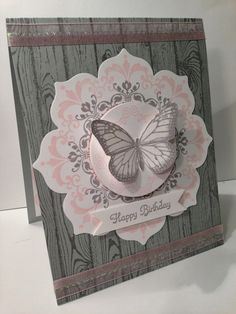 handmade card from Crazy About Scrapbooking ... gray, pink and cream ... hardwood stamped background... luv the Daydream Medallions and Floral Frames combo on this card ... butterfuly with uplifted wings ... great card! ... Stampin' Up!