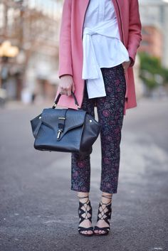 37b13375071f The Outfit    White Deconstructed Shirt + Floral Jacquard Pants + Pink Coat  + Sam