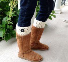 SALE Crochet Leg Warmers Boot Cuffs Cream by JadeExpressions, $22.00