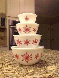 Hazel Atlas opal bowls w/red snowflake decals