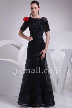 Sheath/Column Evening Dresses Scoop Floor Length Organza Taffeta Black 03001040028