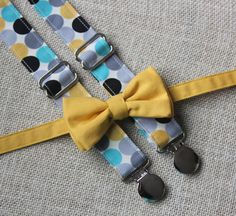 Mustard Yellow Bow Tie and Teal Blue, Mustard, Gray and Black Dot  Suspenders set  ( Men, boys, baby, toddler, infant )