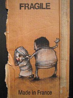 Grafous :: Diseño gráfico social :: Cartón reutilizable :: Ilustración social :: Dran
