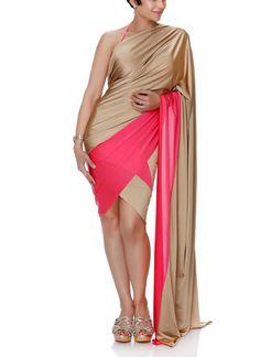 Mandira Bedi   Mini Gold and Pink Lycra Saree   Shop Sarees at strandofsilk.com