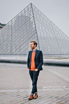 March 11, 2013. The Louvre.  Blazer: Topman - $110 (London sale)Shirt: J. Crew Factory - $29Sweater: Banana Republic Outlet - $19 (similar)Jeans: American Eagle - $26Boots: Dune - Topman - $120 (similar)Watch: Timex - Amazon - $31