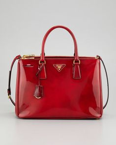 Spazzolato Double-Zip Tote Bag, Red by Prada