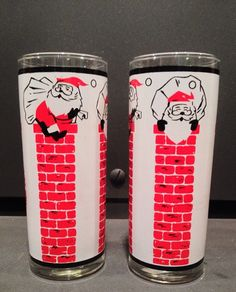 Pair of Tall Vintage Libby Christmas Drinking Glasses Ghost Of Christmas Past, Christmas China, Christmas Dishes, Old Christmas, Retro Christmas, All Things Christmas, Christmas Kitchen, Christmas Drinking Glasses, Vintage Christmas Photos