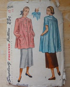 Vintage 1940s Smock Top Sewing Pattern, Simplicity 2436 Maternity or Work by fuzzylizzie on Etsy https://www.etsy.com/listing/215088535/vintage-1940s-smock-top-sewing-pattern