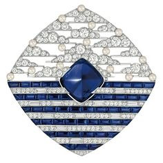 """Chanel - """"Biennale 2014"""" creation from """"Café Society"""" collection - 18-karat whitegold. A 15.7-carat sugarloaf Ceylan sapphire, 48 calibrated blue sapphires, 181 brilliant-cut diamonds, Japanese cultured pearls"""
