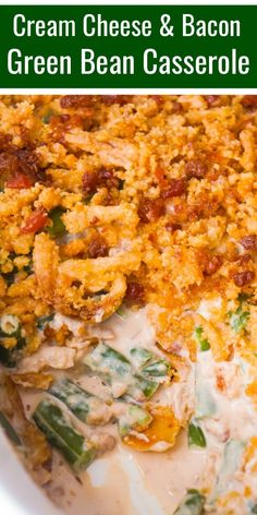 Easy green bean casserole recipe with Lipton onion soup mix, cream cheese, crumb. - Easy green bean casserole recipe with Lipton onion soup mix, cream cheese, crumb. Side Dishes For Bbq, Holiday Side Dishes, Vegetable Side Dishes, Hot Veggie Side Dish, Simple Green Bean Casserole Recipe, Green Bean Casserole Bacon, Green Bean Casserole Easy Thanksgiving, Easy Potluck Recipes, Side Dish Recipes