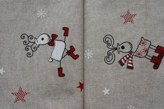 Beautiful Christmas fabric with a pretty reindeer motif for sale in myspottybox.