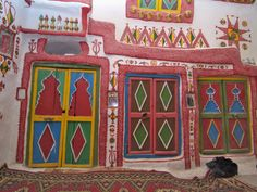 Colourful Cupboard Doors in a Traditional House in Ghadames, Libya Photographic Print