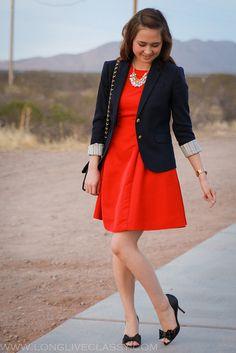 Bright coral dress with a blazer