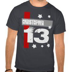 13th Birthday Custom Name GRAY RED WHITE V4 Tee ShirtsTo see more Jaclinart TEEN BIRTHDAY Items:  Teen Birthday INVITATIONS: http://www.zazzle.com/jaclinart/gifts?cg=196319186511761985 Teen Birthday TEES: http://www.zazzle.com/jaclinart/gifts?ps=120&cg=196440535520435911 Teen Birthday PACKAGES: http://www.zazzle.com/jaclinart/gifts?cg=196981607183608899